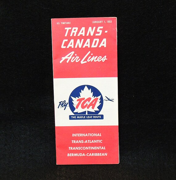 Vintage Trans Canada Airlines January 1, 1953 Timetable.. USA Edition