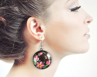 Pink flowers jewelry paint earrings Round earrings ethnic jewelry Hand Painted Jewelry Gift ideas Pink black earrings handmade earrings pink