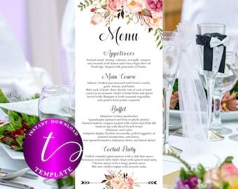 Floral Wedding Menus template printable boho Wedding Menus template printable rustic Wedding Menus template rehearsal dinner menus card,31