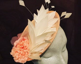 Peach / Pink Fascinator / Headpiece with flower and feather detail.