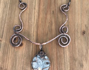 Copper Necklace with Ammonite Fossil