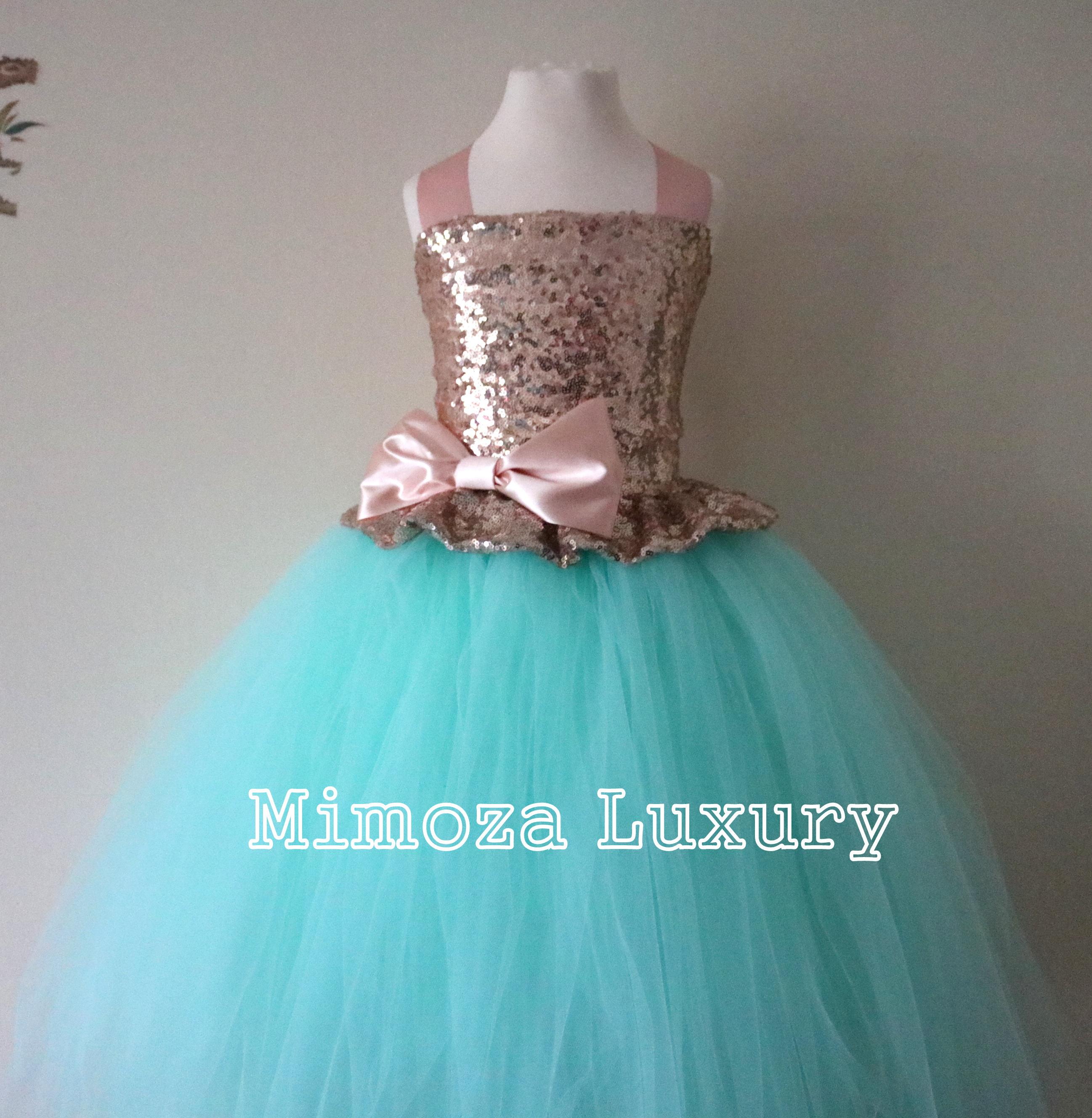 Rose Gold & Mint Sequin Flower Girl Dress, mint green bridesmaid ...