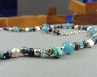 """Necklace with African Turquoise and Lapislazuli - """"Shallow Waters"""""""