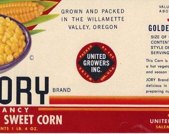Jory Golden Sweet Corn Vintage Can Label, 1950s
