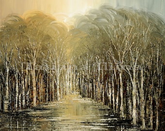 Neutral nature canvas print of original fine art zen forest painting traditional impressionist SHINING SKIES by Tatiana Iliina stretched