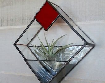 Red and White Stained Glass Airplanter