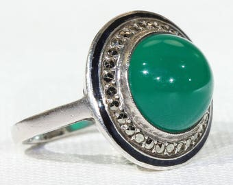 Vintage French Art Deco Chalcedony Marcasite Enamel Ring