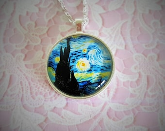 "Glass Domed Necklace in Silverplate Setting, 1"" Diameter-- Van Gogh ""Starry Night""   #JFSN002"