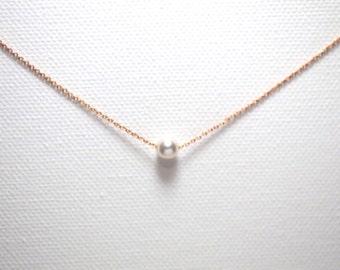 Dainty crystal pearl necklace//Crystallized Swarovski Element//rose gold//Minimalist//Simple//Dainty//Everyday//Bridesmaid//RG003