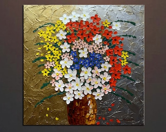 "Original painting impasto oil painting wild flowers in a vase tick paint texture 30""x30"