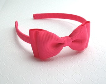 Girls Headband ~ Hot Pink Bow Headband for Toddlers, Big Girls, Tweens