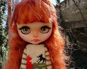 Little Red Riding Hood Sweater for Blythe, Pure Neemo, Licca, Momoko and other similar sized dolls