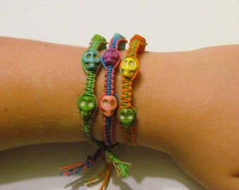 Día de Muertos Natural Cord Bracelet set
