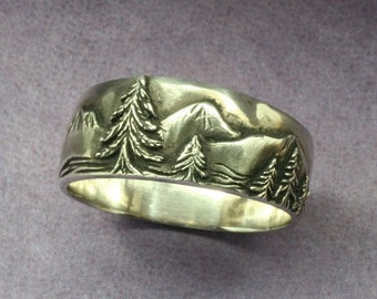 A Mountaineer's WEDDING BAND in Sterling Silver, Tall Mountain Peaks, Pine Trees, Scenic Wedding Band