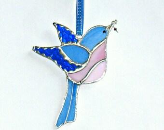 Bluebird in stained glass, glass window hanging ornament, garden decor, suncatcher ornament, gift for mom, grandmom, Christmas friend's gift