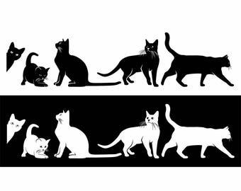 Cute Pet Animal Cat Kitten Silhouette Vinyl Sticker Decal Art