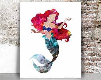 Ariel art print, Ariel poster, Little mermaid, Princess disney, Abstract art poster, Wall art, Kids & children Home decor, FamouStars