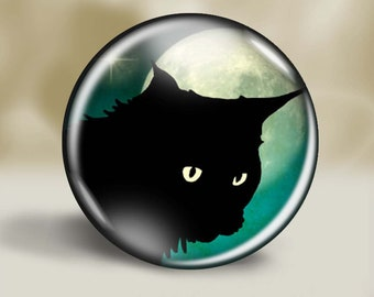 Black Cat Magnet, Pocket Mirror, Pin or Christmas Ornament, 2.25 Inch, Cat Lover Gift