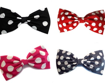 """Large Red Polka Dot """"Minnie Mouse"""" Inspired Hair Bow- Rockabilly, Pin Up, Retro- Black- Pink- Gray- Choose any print"""