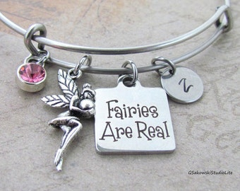 Fairies are real Fairy with a Heart Personalized Hand Stamped Initial Birthstone Antique Silver Fairy Charm Expandable Bangle Bracelet