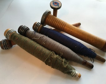 Vintage Wood Spool Set - 6 wooden spools with thread  ---- FREE SHIPPING