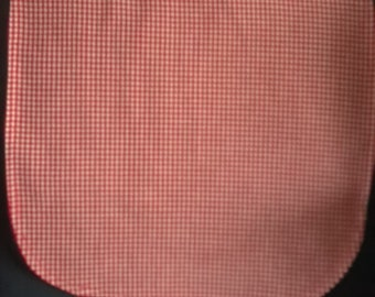 Adult clothing protector-red checked cotton, red backing