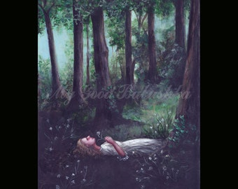 No One Was Ever So Happy, Original Painting, Forest, Fairy Tale, Folk Tale, Peace, Woods, Flowers, Resting, Lying in the Grass, Serenity