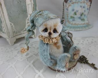 """SOLD  3.3"""" Miniature Artist Bear Blue Mist with button Handmade by Vera J.Bears"""
