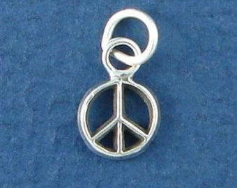 PEACE Symbol Charm .925 Sterling Silver MINIATURE Small - elp531