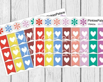 Flag Heart Planner Stickers Set of 24 Stickers - PS463a