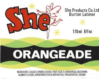 She Orangeade Vintage Label, 1940s