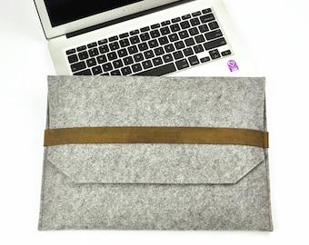 """Leather Laptop bag, Felt Laptop case, 11""""12""""13""""14""""15""""17"""" inch laptop sleeve, ASUS Laptop case, Felt laptop cover,Customize laptop case. 4A7"""