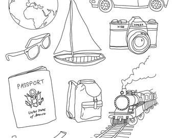 Set of Travel Illustrations -  10 Original Hand Vector Graphics