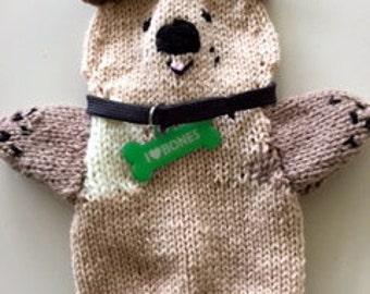 hand puppet knitted dog, knitted dog doll, handmade handdoll dog