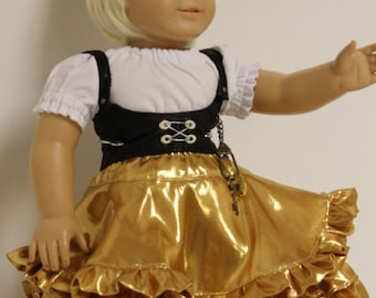 Gold Can-Can Steampunk Outfit for 18 inch Dolls