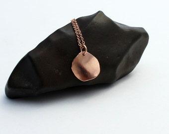 14k Solid Rose Gold Necklace. Rose Gold Disc Pendant Necklace. Hammered Rose Gold Necklace. Round Rose Gold Pendant Necklace Unique Handmade