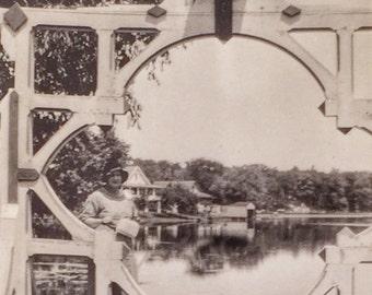 Beautifully Framed Lake View & Birdhouse Vintage Photo