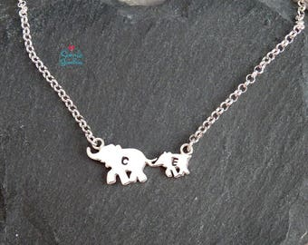 Elephant necklace | Elephants family necklace | Mom daughter son Elephant necklace | family two Elephant necklace Silver elephant family