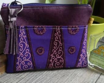 """Purple wax"" suede pouch"