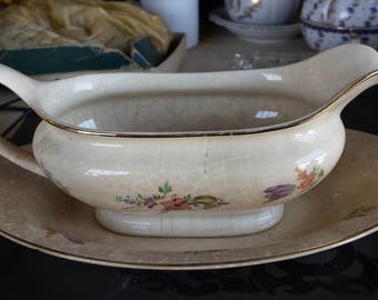 Household Institute by Homer Laughlin gravy boat  and plate–