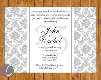 25th Wedding Anniversary Milestone Invitation Dinner Party Invite Grey Silver Damask Printable 5x7 JPG Digital (180)