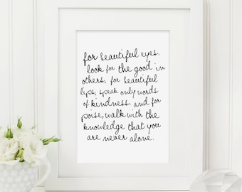 Audrey Hepburn Quote Print - Typography Print - Quote Print -  Audrey Hepburn Print - Black and White Print - Audrey Hepburn Gift