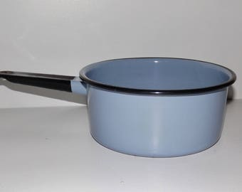 "Light blue enamel sauce pot,black handle,7.5"" pot,enamelware,enamel cookware,blue cookware pot,rustic kitchen,farmhouse kitchen decor"