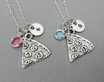 Pizza Best Friend Necklace - Personalized Handstamped, Customized friendship, couples necklace