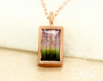 Bezel Set Watermelon Tourmaline Necklace - Pink & Green Tourmaline