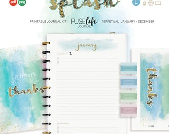 Perpetual Printable Gratitude Journal Kit : Large FUSElife Splash > US Letter + A4 with Covers, Pages, Bookmark, Tabs + Tip Guide (jes0566)