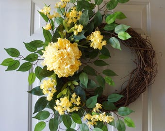 Yellow Hydrangeas Green Wreath Large Wreath Summer Door Wreath Ready to Ship