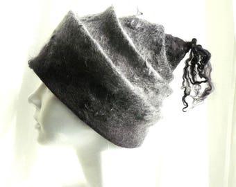 Clothing gift Felted Hat Felt Cap wool hat  for women gray boho hat