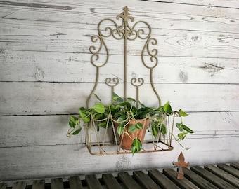 Rusty Wrought Iron Wall Or Fence Plant Holder, Iron Garden Planter, Cottage Iron  Planter