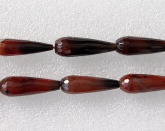 Full Strand Brownish Red Agate Faceted Long Teardrop Beads 30x10mm